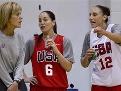 Diana Taurasi, right, and Sue Bird, center, talk with assistant coach Chris Dailey during U.S. women's national basketball team practice Tuesday in Las Vegas.