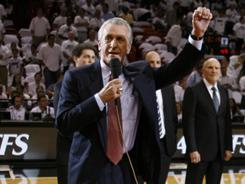 Pat Riley declines most interview request, but the Heat president addressed the Miami crowd Wednesday after being named NBA co-executive of the year.
