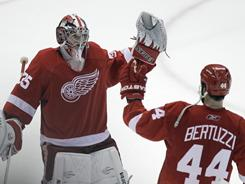 "Goalie Jimmy Howard, who won a Game 7 last year against Phoenix, said of the Red Wings: ""We just never quit."""