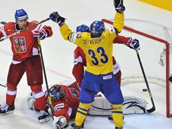 Jakob Silfverberg and Team Sweden knocked off the defending champion Czech Republic 5-2 Friday to advance to the gold medal game against Finland.