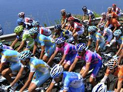 Cyclists ride along the coastline during the eighth stage of the Giro d'Italia from Sapri to Tropea on May 14.