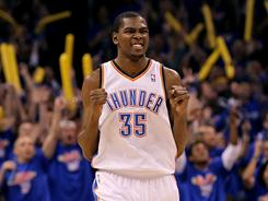 Forward Kevin Durant celebrates a basket during the Thunder's 105-90 win vs. the Grizzlies in Game 7 of the Western Conference semifinals.