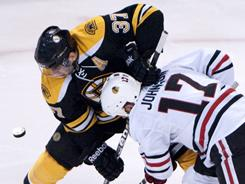 In addition to his scoring, Boston's Patrice Bergeron is valued for his faceoff ability and the Bruins struggled in the faceoff circle in Game 1.