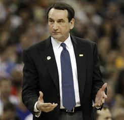 Duke coach Mike Krzyzewski coaches the Blue Devils in their NCAA Tournament regional semifinal in Houston.