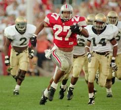 Former Ohio State running back Eddie George (27) has been elected to the College Football Hall of Fame.
