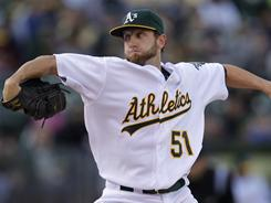 Dallas Braden,   here pitching for the A's against the Tigers on April 16, had shoulder surgery Tuesday and will not pitch again in 2011. He pitched a perfect game in May 2010.