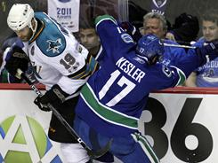 Sharks captain JoeThornton said he challenged Ryan Kesler to a fight during the opening faceoff in Game 1.