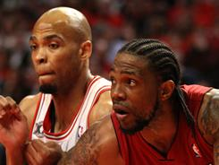 The Bulls and Taj Gibson, left, had no answer for the Heat's Udonis Haslem, who scored 13 points in Miami's Game 2 win vs. Chicago.