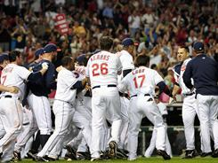Travis Hafner's two-out, two-run walk-off homer that beat the Mariners on May 13 led to a wild postgame celebration.