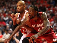 Udonis Haslem's energy lifted the Miami Heat in their Game 2 victory at the Chicago Bulls on Wednesday to even their Eastern Conference finals at 1-1. Game 3 is Sunday in Miami.