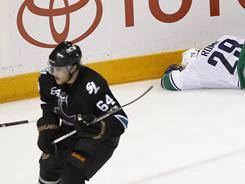 Jamie McGinn was ejected for his third-period hit on Aaron Rome. The Canucks scored twice during the major penalty.