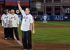 Former New York Met Gary Carter greets fans at Shea Stadium after a game in 2008.