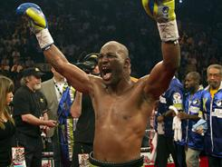 Bernard Hopkins celebrates his unanimous-decision victory over Jean Pascal.