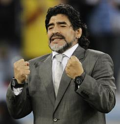 Former Argentina head coach Diego Maradona, shown here during the 2010 World Cup, plans to sue the national team's president Julio Grondona over perceived criticism of his drug problems.