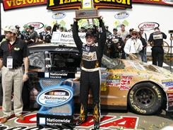 Ricky Stenhouse Jr. celebrates in victory lane after winning his first Nationwide Series race in 51 starts.
