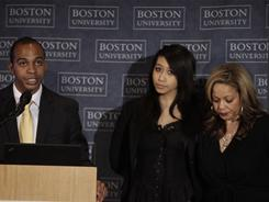 Alicia Duerson, right, with son Tregg Duerson, left, and daughter Taylor, continues to deal with the fallout from the suicide of her ex-husband Dave Duerson and educate people about brain injuries.