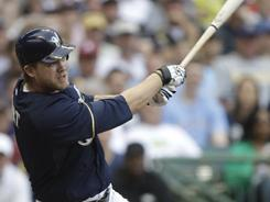 Corey Hart smacked three home runs, driving home seven RBI in an 11-3 win over the Nationals Monday. They were his first three homers of the season.
