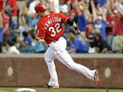 Rangers' Josh Hamilton hits a home run in his first at-bat off the DL.
