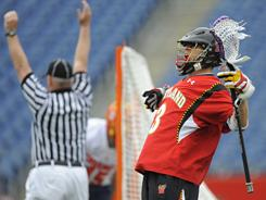 Maryland's Jake Bernhardt celebrates his goal in the third quarter of the Terps' upset of top-seeded Syracuse in the NCAA quarterfinals Sunday.