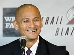 Rich Cho was introduced as the Portland Trail Blazers general manager in Portland, Ore. July 19, 2010. He was relieved of his duties on Monday.