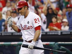 The Philadelphia Phillies' Chase Utley went 0-for-5 in his return from the disabled list against the Cincinnati Reds. The Phillies won 10-3.
