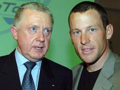 In a March 5, 2005, file photo, Hein Verbruggen, left, president of the International Cycling Union talks with cyclist Lance Armstrong, at the launch of the Cycling Pro Tour in Paris. Verbruggen has denied allegations that the governing body covered up a suspicious drug test result by Armstrong at the 2001 Tour de Suisse.