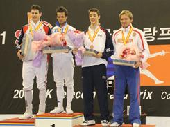 Winners of the Seoul Individual Foil World Cup are (from the left): Silver medalist Richard Kruse of Great Britain, Italy's Andrea Baldini who won the gold medal and bronze medalists Alexander Massialas (USA) and Russia's Artem Sedov.   [Via MerlinFTP Drop]