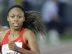 Allyson Felix competes in the women's 200-meter race as part of the Golden Gala event, the third leg of the Diamond League series meeting at Olympic stadium in Rome on May 26. Felix won the race.