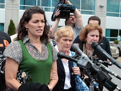 Nancy Kerrigan (right) and her mother, Brenda Kerrigan arrive at Middlesex District Court, in Woburn, Mass., on May 23.