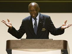 FIFA's Jack Warner soeaks during the draw of the FIFA U-20 World Cup in Cartagena, Colombia in April.