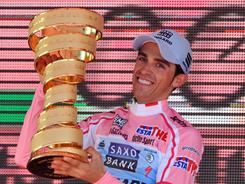 Alberto Contador celebrates his victory in the 94th Giro d'Italia on Sunday. Contador won the race for the second time.