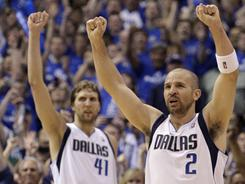 Jason Kidd (r) and Dirk Nowitzki (l) are the two veteran stars of the Dallas Mavericks, seeking their first NBA title in their third and second attempts, respectively.