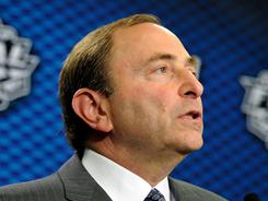NHL Commissioner Gary Bettman speaks to the news media before Game 1 of the Stanley Cup Fiinal.