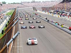 Four-time Indianapolis 500 winner A.J. Foyt lead the field in pace car before last weekend's race..