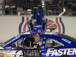 Carl Edwards, celebrating his Nationwide Series win on April 8, has his eye on a win Sunday at his home track in Kansas.