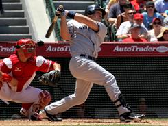 Yankees first baseman Mark Teixeira hit two homers against  the Los Angeles Angels, where he played for three months before moving to New York, to earn the series win Sunday.