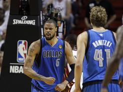 The Mavericks' Tyson Chandler reacts against the Heat during the second half of Game 2 of the NBA Finals.