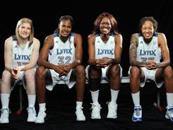 The Lynx will likely start four former All-Stars, (from left to right) Lindsay Whalen, Rebekkah Brunson, Taj McWilliams-Franklin and Seimone Augustus, when they take the court for their 2011 opener Friday in Los Angeles.