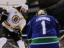 The Bruins are using 6-9 Zdeno Chara up front during the power play.