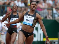 Carmelita Jeter won the women's 100 meters in 10.70 seconds at the 2011 Prefontaine Classic in Eugene, Ore. on Sunday.