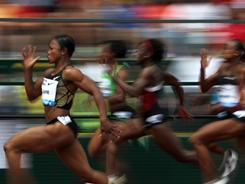 Carmelita Jeter en route to winning the women's 100-meter race during at the Prefontaine Classic June 4  in Eugene, Oregon. Jeter ran the race in a world-leading time of 10.70.