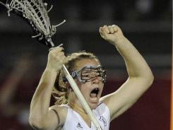 Northwestern's Shannon Smith celebrates her game-winning goal in the national semifinals against North Carolina.