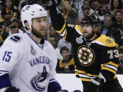 Boston Bruins winger Michael Ryder (73) reacts to his goal as Vancouver Canucks winger Tanner Glass (15) looks on.