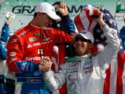 Graham Rahal, left, and Joey Hand won the Rolex 24 at Daytona. In October, Hand may drive an Indy car for Rahal in Las Vegas.