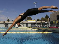 Former Olympic swimmer Janet Evans trains in Huntington Beach, Calif., Thursday, June 9, 2011. This weekend, 39-year-old Evans will swim in her first meet since the Atlanta Games, a Masters event that bears her name in her hometown of Fullerton, Calif.