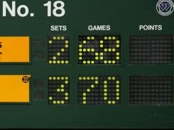 The scoreboard shows the incredible result of the Nicolas Mahut-John Isner marathon at Wimbledon a year ago.