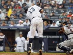 The Yankees' Alex Rodriguez hit his 13th home run of the season in the fourth inning and got hit by a pitch by Indians' starter Mitch Talbot in the sixth inning. Talbot got ejected after hitting Rodriguez.
