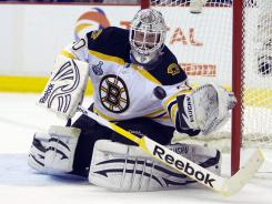 Bruins goalie Tim Thomas  led the NHL in goals-against average and save percentage this season. He has three postseason shutouts.