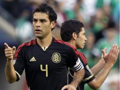 Mexico's Rafael Marquez celebrates after scoring a goal against Costa Rica during the first half of a CONCACAF Gold Cup soccer game at Soldier Field on June 12 in Chicago.