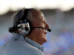 A.J. Foyt watches the Firestone Twin 275 IndyCar Series Races at Texas Motor Speedway in Fort Worth, on Saturday.